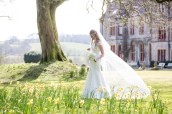 huntsham wedding bride in garden veil blowing